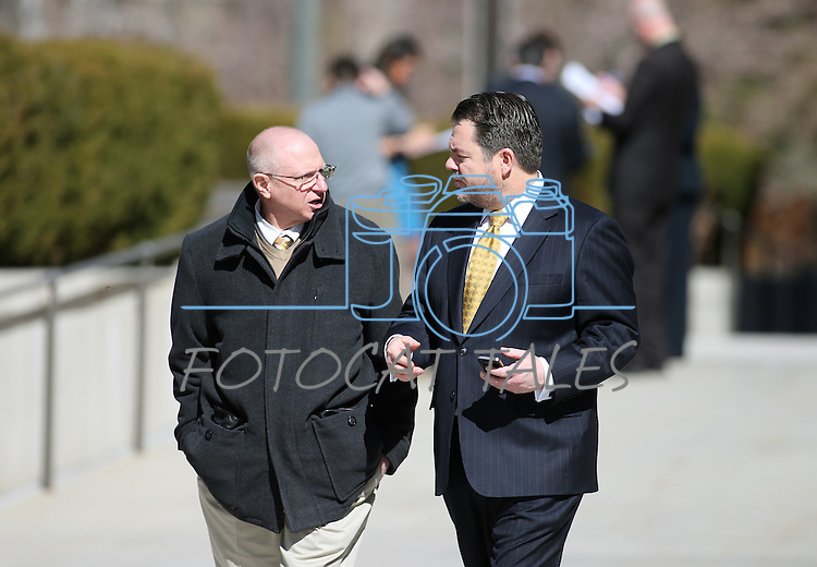 Nevada Senate Republicans Joe Hardy, left, and Michael Roberson return to the Legislative Building in Carson City, Nev., on Thursday, Feb. 28, 2013, following a fire drill..Photo by Cathleen Allison