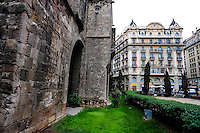 Spain, Barcelona. The Barri Gòtic ('Gothic Quarter') is the centre of the old city. Roman wall.