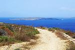 Clifftop path at Ta Cenc view to Comino, Gozo, Malta