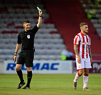 Stoke City's Thibaud Verlinden is shown a yellow card by referee Neil Hair<br /> <br /> Photographer Chris Vaughan/CameraSport<br /> <br /> Football Pre-Season Friendly - Lincoln City v Stoke City - Wednesday July 24th 2019 - Sincil Bank - Lincoln<br /> <br /> World Copyright © 2019 CameraSport. All rights reserved. 43 Linden Ave. Countesthorpe. Leicester. England. LE8 5PG - Tel: +44 (0) 116 277 4147 - admin@camerasport.com - www.camerasport.com