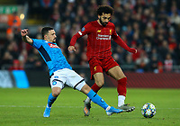 Liverpool's Mohamed Salah vies for possession with Napoli's Mario Rui <br /> <br /> Photographer Alex Dodd/CameraSport<br /> <br /> UEFA Champions League Group E - Liverpool v Napoli - Wednesday 27th November 2019 - Anfield - Liverpool<br />  <br /> World Copyright © 2018 CameraSport. All rights reserved. 43 Linden Ave. Countesthorpe. Leicester. England. LE8 5PG - Tel: +44 (0) 116 277 4147 - admin@camerasport.com - www.camerasport.com