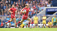 Wales's Lee Williams runs in his sides second try of the game<br /> <br /> Australia Vs Wales - Men's quarter-final<br /> <br /> Photographer Chris Vaughan/CameraSport<br /> <br /> 20th Commonwealth Games - Day 4 - Sunday 27th July 2014 - Rugby Sevens - Ibrox Stadium - Glasgow - UK<br /> <br /> © CameraSport - 43 Linden Ave. Countesthorpe. Leicester. England. LE8 5PG - Tel: +44 (0) 116 277 4147 - admin@camerasport.com - www.camerasport.com