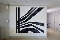 L'Oblique de la Cite U, abstract painting, oil on canvas, 2012, by Claude Parent, 1923-2016, in the Fondation Avicenne or Avicenna Foundation, the former Maison de l'Iran or Iran House, designed by Claude Parent, Andre Bloc, 1896-1966, Hedar Ghiai and Mossem Foroughi, and opened in 1969, in the Cite Internationale Universitaire de Paris, in the 14th arrondissement of Paris, France. The CIUP or Cite U was founded in 1925 after the First World War by Andre Honnorat and Emile Deutsch de la Meurthe to create a place of cooperation and peace amongst students and researchers from around the world. It consists of 5,800 rooms in 40 residences, accepting another 12,000 student residents each year. Picture by Manuel Cohen. Further clearances may be requested.