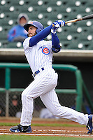 Matt Szczur #11 of the Iowa Cubs swings against the Omaha Storm Chasers at Principal Park on May 1, 2014 in Des Moines, Iowa. The Cubs  beat Storm Chasers 1-0.   (Dennis Hubbard/Four Seam Images)