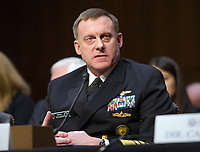 National Security Agency (NSA) Director Admiral Michael S. Rogers, United States Navy, testifies before the US Senate Committee on Intelligence during a hearing to examine worldwide threats on Capitol Hill in Washington, DC on Tuesday, February 13, 2018<br /> Credit: Ron Sachs / CNP /MediaPunch