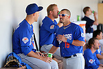 Las Vegas 51s' Zach Wheeler, left, and Zach Lutz talk in the dugout during a minor league baseball game against the Reno Aces in Reno, Nev., on Tuesday, April 30, 2013. (AP Photo/Cathleen Allison)
