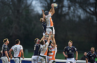 Harrison Orr of Ealing Trailfinders wins the line out during the Greene King IPA Championship match between London Scottish Football Club and Ealing Trailfinders at Richmond Athletic Ground, Richmond, United Kingdom on 26 December 2015. Photo by Alan  Stanford / PRiME Media Images