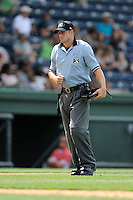Umpire Ben Sonntag works a game between the Greenville Drive and Hagerstown Suns on Tuesday, May 12, 2015, at Fluor Field at the West End in Greenville, South Carolina. Greenville won, 4-0. (Tom Priddy/Four Seam Images)