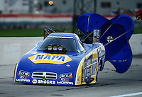 Aug. 31, 2012; Claremont, IN, USA: NHRA funny car driver Ron Capps during qualifying for the US Nationals at Lucas Oil Raceway. Mandatory Credit: Mark Rebilas-