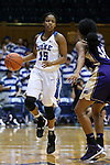29 December 2015: Duke's Kyra Lambert (15) and Western Carolina's Raziyah Farrington (31). The Duke University Blue Devils hosted the Western Carolina University Catamounts at Cameron Indoor Stadium in Durham, North Carolina in a 2015-16 NCAA Division I Women's Basketball game.
