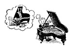 The Orchestra Thinks. (The pianist wants to use the conductor to hold the lid of his grand piano)