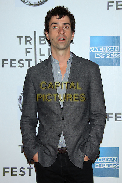 "Hamish Linklater.The 2012 Tribeca Film Festival World Premiere of ""Lola Versus"" at the Tribeca Performing Arts Center, New York, NY, USA..April 24th, 2012.half length hands in pockets blue shirt grey gray suit jacket .CAP/LNC/TOM.©LNC/Capital Pictures."