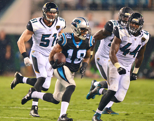 Jacksonville Jaguars linebackers Paul Posluszny (51), Telvin Smith (50) and Myles Jack (44) chase Carolina Panthers receiver Damiere Byrd (18) after a catch in an NFL preseason game Thursday, August 24, 2017 in Jacksonville, Fla. (Rick Wilson/Jacksonville Jaguars)