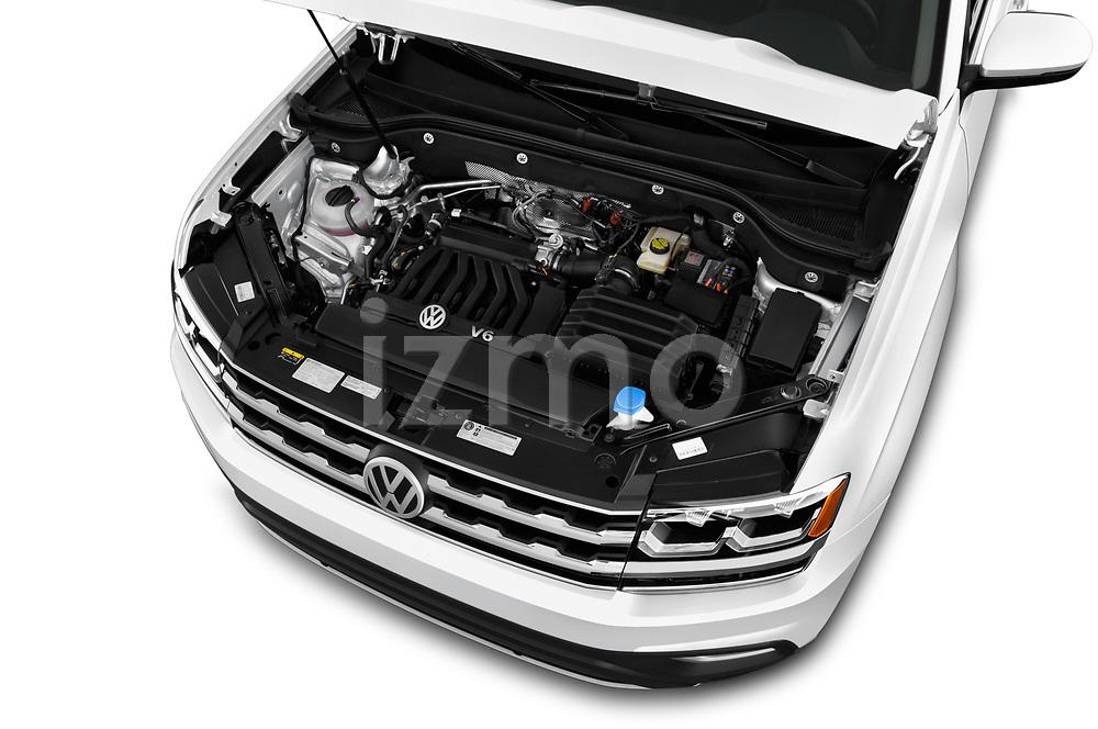Car stock 2018 Volkswagen Atlas SEL 5 Door SUV engine high angle detail view