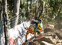 Picture by Alex Broadway/SWpix.com - 09/09/17 - Cycling - UCI 2017 Mountain Bike World Championships - XCO - Cairns, Australia - Frances Du Toit of South Africa crashes during the Women's Under 23 Cross Country Final.
