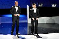 23.02.2013. Nice, France. UEFA Drawing fo the 2016 UEFA EURO Championships. Ruud Gullit, Bixente Lizarazu