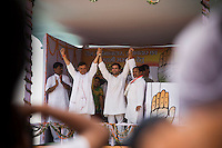 Rahul Gandhi and the local candidates on stage at the congress party rally for the Lok Sabha elections of 2009 in Pripariya town of Hoshangabad, in Madhya Pradesh state, India on 21st of April 2009.   Photo by Suzanne Lee for The National.