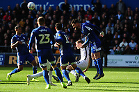 Ben Wilmot of Swansea City vies for possession with Sean Morrison of Cardiff City during the Sky Bet Championship match between Swansea City and Cardiff City at the Liberty Stadium in Swansea, Wales, UK. Sunday 27 October 2019