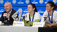 Houston, TX - Sunday Oct. 09, 2016: Paul Riley, Sabrina D'Angelo, Abby Erceg after the National Women's Soccer League (NWSL) Championship match between the Washington Spirit and the Western New York Flash at BBVA Compass Stadium. The Western New York Flash win 3-2 on penalty kicks after playing to a 2-2 tie.