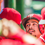 27 April 2014: Washington Nationals catcher Anthony Rendon returns to the dugout after scoring the first run of the game in the first inning against the San Diego Padres at Nationals Park in Washington, DC. The Padres defeated the Nationals 4-2 to to split their 4-game series. Mandatory Credit: Ed Wolfstein Photo *** RAW (NEF) Image File Available ***