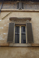One of the windows in Radi's palazzo apartment in the building which took ten years to restore