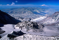 Lava Dome and Mt. Rainier from the Summit of Mt. St. Helens, Mt. St. Helens National Volcanic Monument, Washington, US