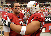 Aug 18, 2007; Glendale, AZ, USA; Arizona Cardinals quarterback Matt Leinart (7) with guard Deuce Lutui (76) against the Houston Texans at University of Phoenix Stadium. Mandatory Credit: Mark J. Rebilas-US PRESSWIRE Copyright © 2007 Mark J. Rebilas
