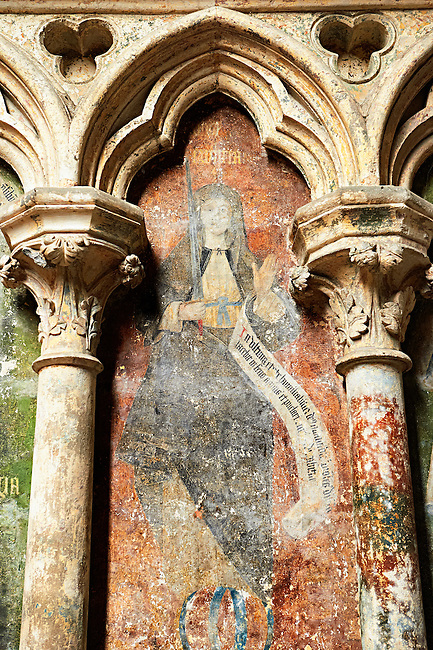 Gothic medieval fresco fragment from the Cathedral of Notre-Dame, Amiens, France.