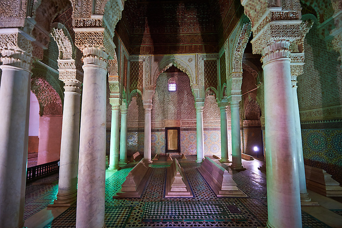 The arabesque architecture the tomb of al-Mansur's son in the Saadian Tombs the 16th century mausoleum of the Saadian rulers, Marrakech, Morroco