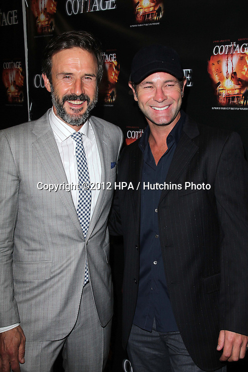 """LOS ANGELES - SEP 28:  David Arquette, Chris Jaymes arrives at the """"Cottage"""" Premiere at Academy of Motion Pictures Arts and Sciences on September 28, 2012 in Beverly Hills, CA"""