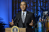 United States President Barack Obama delivers remarks while hosting the event, 'In Performance at the White House - Women of Soul', in the East Room of the White House in Washington DC, USA, 06 March 2014. The event was held to celebrate American music legends and contemporary major female artists.<br /> Credit: Michael Reynolds / Pool via CNP