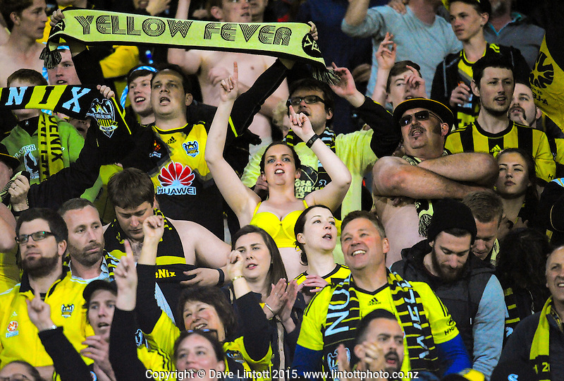 Phoenix fans celebrate during the A-League football match between Wellington Phoenix and Adelaide United at Westpac Stadium, Wellington, New Zealand on Friday, 13 November 2015. Photo: Dave Lintott / lintottphoto.co.nz