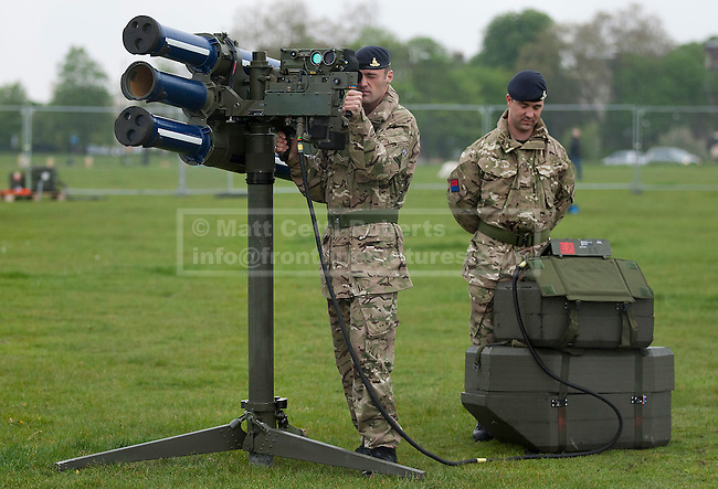 03/05/2012. LONDON, UK. Two members of 16 Regiment Royal Artillery man a Starstreak High Velocity Missile System (HVM) at Blackheath in London today (03/05/12). The missiles have been deployed as part of an exercise involving the RAF, British Army and Royal Navy taking place across London as part of security preparations for the 2012 London Olympic Games. Photo credit: Matt Cetti-Roberts