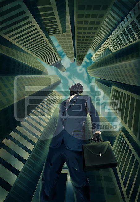 Illustrative image of businessman looking at tall building representing aim