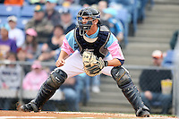 May 3, 2009:  Catcher Josh Thole of the Binghamton Mets, Eastern League Class-AA affiliate of the New York Mets, in the field during a game at the NYSEG Stadium in Binghamton, NY.  The Mets wore special blue and pink jerseys that were auctioned off after the game to benefit breast and prostate cancer.  Photo by:  Mike Janes/Four Seam Images