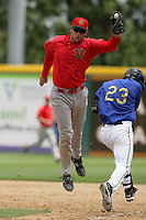 April 28, 2010: Ryan Wheeler of the Visalia Rawhide during game against the Rancho Cucamonga Quakes at The Epicenter in Rancho Cucamonga,CA.  Photo by Larry Goren/Four Seam Images