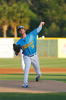 Myrtle Beach Pelicans pitcher Ryan Kellogg (30) on the mound during a game against the Wilmington Blue Rocks at Ticketreturn Field at Pelicans Ballpark on April 26, 2017 in Myrtle Beach, South Carolina. Myrtle Beach defeated Wilmington 7-3. (Robert Gurganus/Four Seam Images)