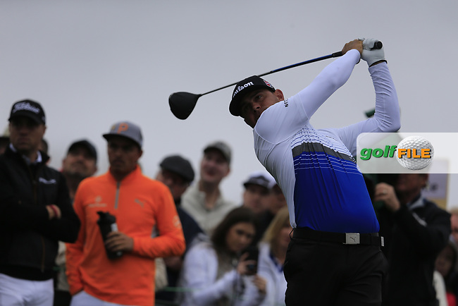 Gary Woodland (USA) on the 3rd tee during the final round of the Waste Management Phoenix Open, TPC Scottsdale, Scottsdale, Arisona, USA. 03/02/2019.<br /> Picture Fran Caffrey / Golffile.ie<br /> <br /> All photo usage must carry mandatory copyright credit (© Golffile | Fran Caffrey)