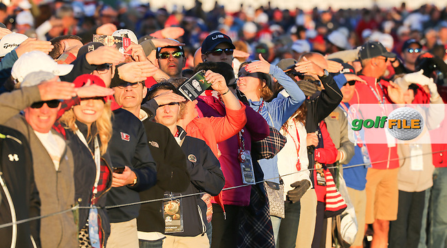 Huge gallery down the first hole during the Saturday Morning Foursomes, at the 41st Ryder Cup 2016, at Hazeltine National Golf Club, Minnesota, USA.  01View of the 10th2016. Picture: David Lloyd | Golffile.