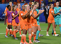 20190703 - LYON , FRANCE : Dutch players with Shanice Van De Sanden ,  Inessa Kaagman and Jackie Groenen pictured celebrating after winning the female soccer game between Netherlands – Oranje Leeuwinnen - and Sweden  , a knock out game in the semi finals of the FIFA Women's  World Championship in France 2019, Wednesday 3 th July 2019 at the Stade de Lyon  Stadium in Lyon  , France .  PHOTO SPORTPIX.BE | DAVID CATRY