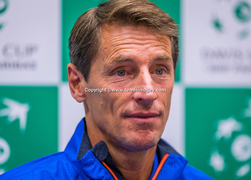 The Hague, The Netherlands, September 12, 2017,  Sportcampus , Davis Cup Netherlands - Chech Republic, Pre Draw press conference, captain Paul Haarhuis (NED)<br /> Photo: Tennisimages/Henk Koster