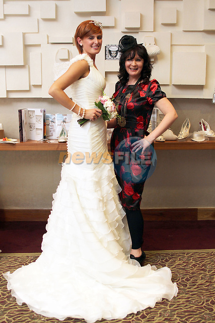 Rebecca Sexton with Dara Caffrey (Frilly Frocks) at the City North Wedding Fair..Picture Jenny Matthews/Newsfile.ie