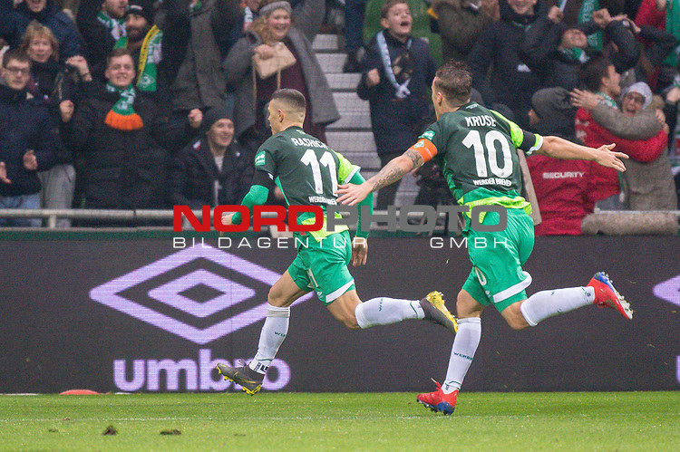 10.02.2019, Weser Stadion, Bremen, GER, 1.FBL, Werder Bremen vs FC Augsburg, <br /> <br /> DFL REGULATIONS PROHIBIT ANY USE OF PHOTOGRAPHS AS IMAGE SEQUENCES AND/OR QUASI-VIDEO.<br /> <br />  im Bild<br /> <br /> 1:0 Milot Rashica (Werder Bremen #11) <br /> Max Kruse (Werder Bremen #10)<br /> <br /> <br /> <br /> jubel <br /> Foto &copy; nordphoto / Kokenge