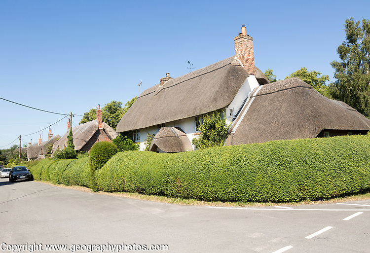 Attractive thatched village houses at Wilcot, Pewsey Vale, Wiltshire, England, UK