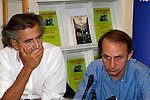 "The philosopher writer, BERNARD HENRI LEVY(L) and author MICHEL HOUELLEBECQ(R) promote their book ""Ennemis publics or Public enemies"" in French Institute in Athens. This week, MICHEL HOUELLEBECQ had won the Prix Goncourt, arguably the most prestigious literary prize awarded in France, for his novel ""The Map and the Territory""."