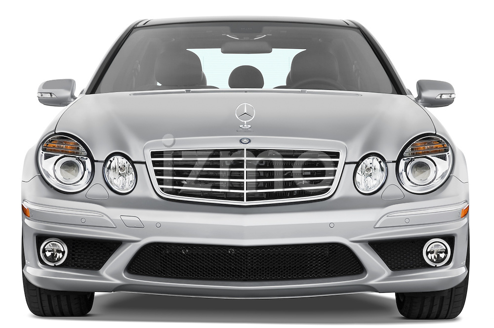 Straight front view of a 2008 Mercedes E63 Sedan