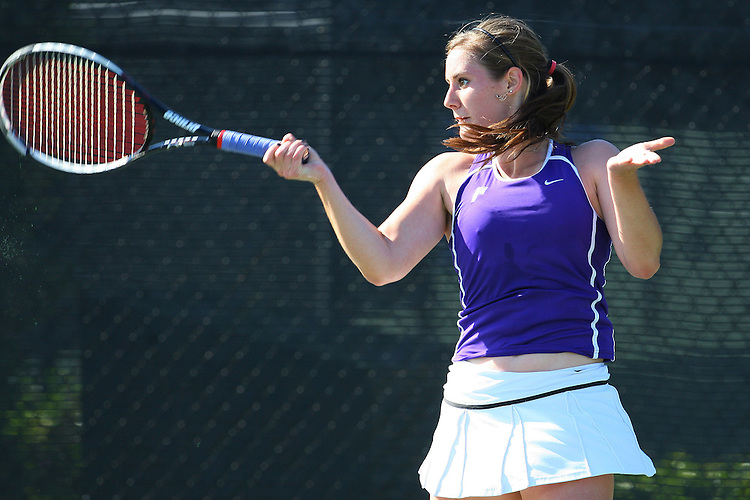 April 21, 2011; San Diego, CA, USA; Portland Pilots singles Sabine Fuchs during the first round of the WCC Tennis Championships at the Barnes Tennis Center.