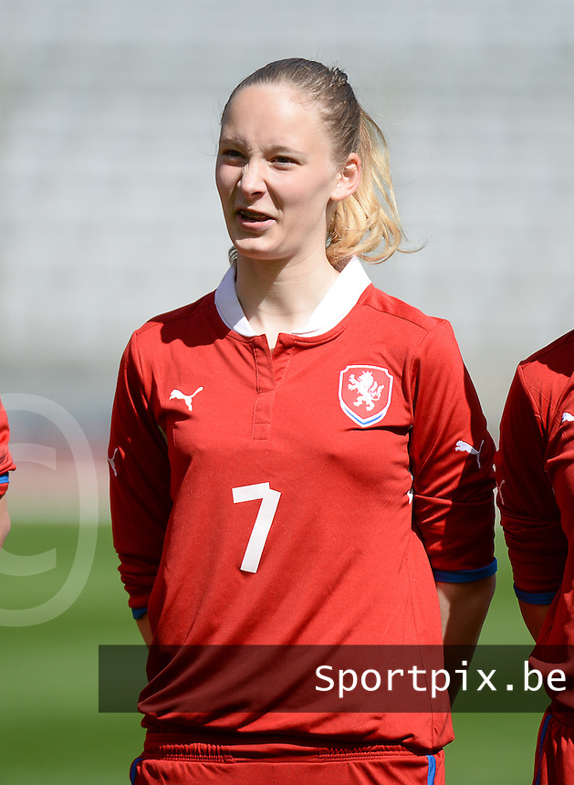 20140407 - BRUSSELS , BELGIUM : Czech Katerina Buzkova (7) pictured during the female soccer match between CZECH REPUBLIC U19 and BELGIUM U19 , in the second game of the Elite round in group 4 in the UEFA European Women's Under 19 competition 2014 in the Koning Boudewijn Stadion , Monday 7 April 2014 in Brussels . PHOTO DAVID CATRY