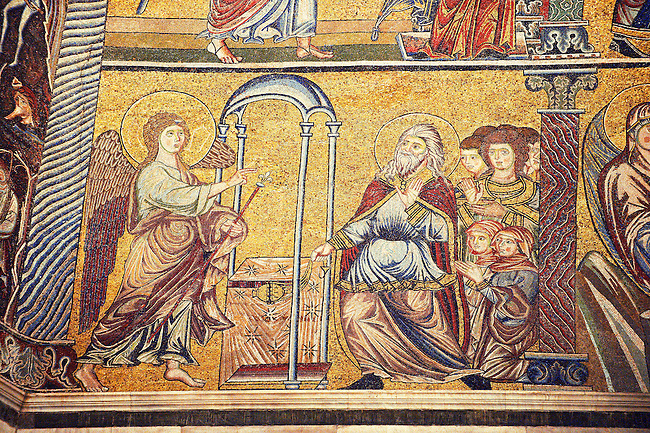 The Medieval mosaics of the ceiling of The Baptistry of Florence Duomo ( Battistero di San Giovanni ) showing probably showing the arch angel Gabriel Gabriel revealing the coming of the Messaiah to Jon the Baptist ,  started in 1225 by Venetian craftsmen in a Byzantine style and completed in the 14th century. Florence Italy