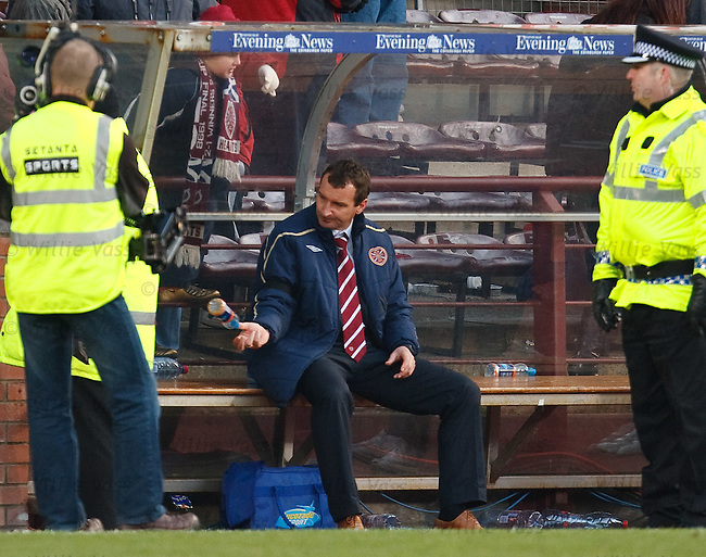 Hearts manager Csaba Laszlo sits alone in the dugout after a 0-0 draw with rivals Hibs